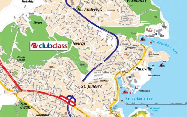 Mapa Clubclass Swieqi Malta
