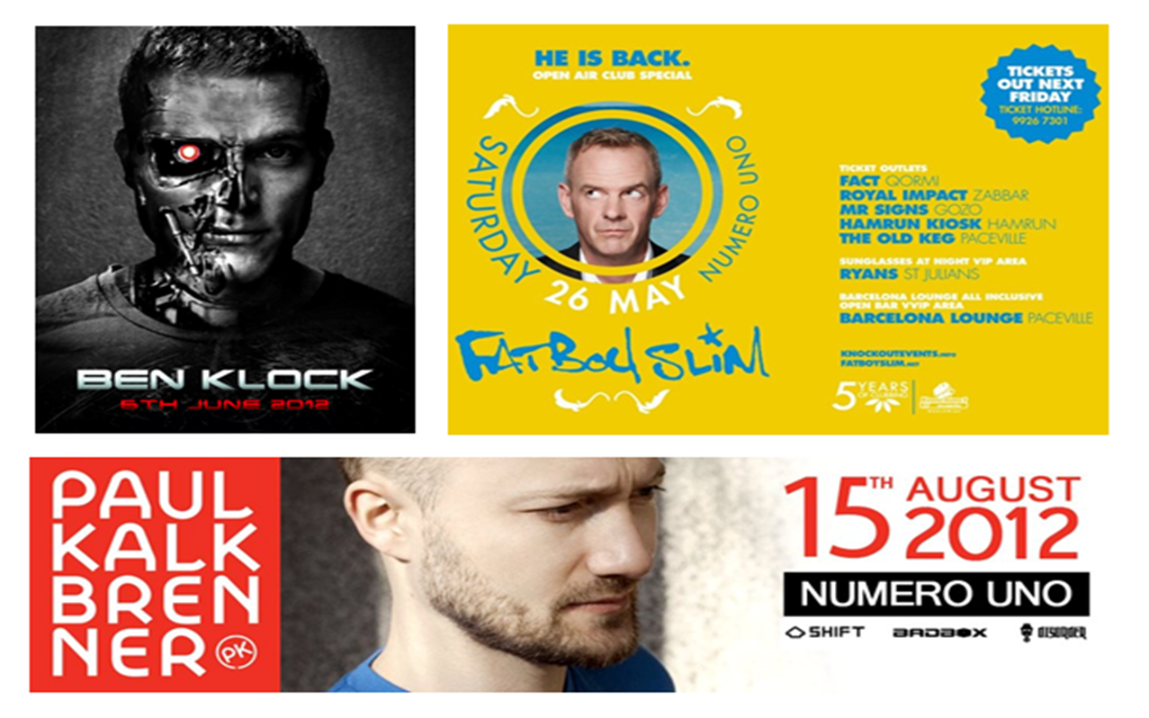 Fat Boy Slim, Ben Klock e Paul Kalkbrenner em Malta 2012