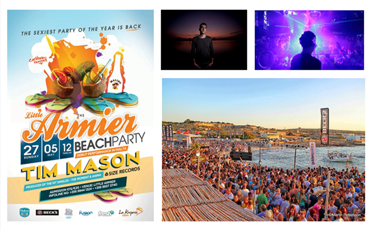 The Armier Beach Party Malta com Tim Mason