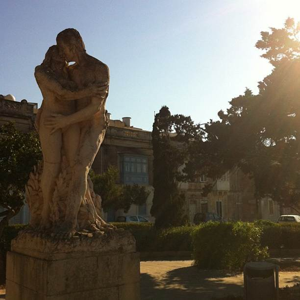 Loving couple.  The Howard Gardens, between Mdina and Rabat.