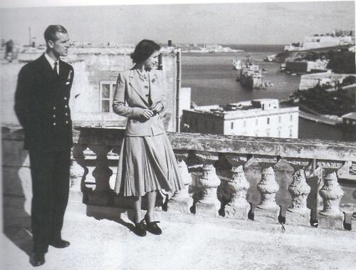 princesa Elizabeth e o príncipe Philip e de  em Malta 1949